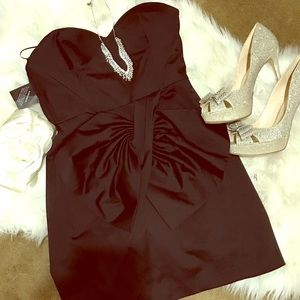 Black faux silk mini dress